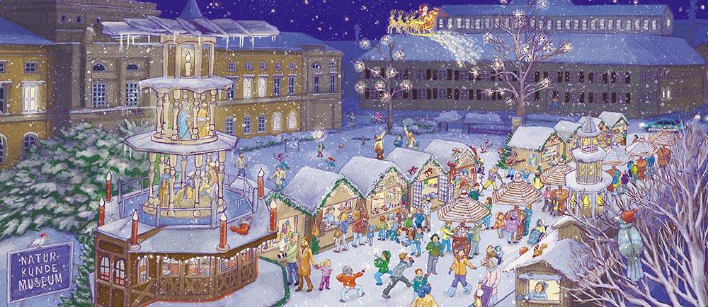 Karlsruhe Weihnachtsmarkt.Mein Stadt Wimmelbuch Karlsruhe